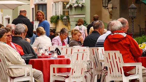 European Street Restaurant Scene 01 Stock Video Footage