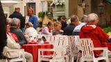 European Street Restaurant Scene 01 stock footage