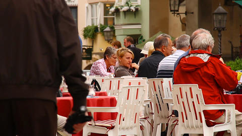 European Street Restaurant Scene 01 Footage