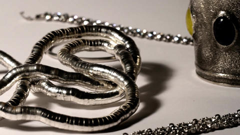 Silver Jewellery 02 dolly right Stock Video Footage
