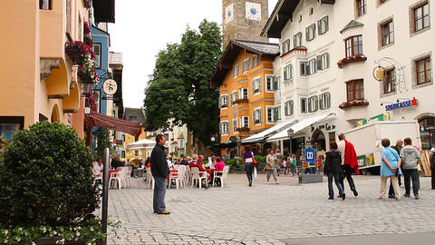 Kitzbuhel Downtown Austria 02 Stock Video Footage