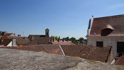 Old European Village 04 rooftops Stock Video Footage