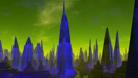 City of aliens. Evening Stock Video Footage
