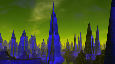 City of aliens. Evening Animation