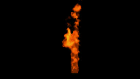 burning numbers 1 burning,flames on black background Animation