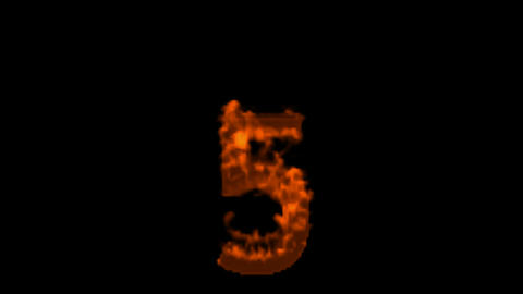 burning numbers 5 burning,flames on black background Stock Video Footage
