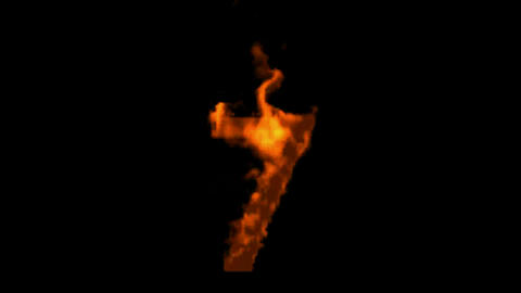 burning numbers 7,flames on black background Stock Video Footage