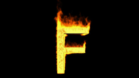 fire letter F,uppercase Animation