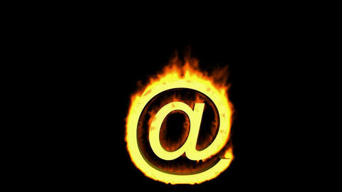 Internet fire symbol,@ mail Stock Video Footage