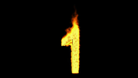 burning numbers 1,flames on black background Stock Video Footage