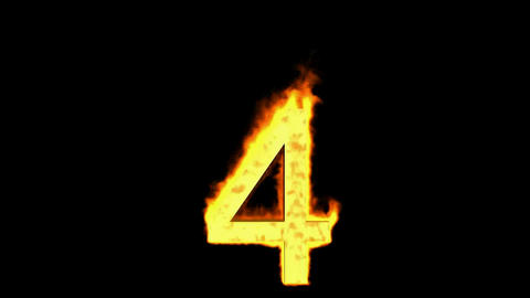burning numbers 4,flames on black background Stock Video Footage