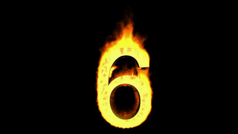burning numbers 6,flames on black background Stock Video Footage