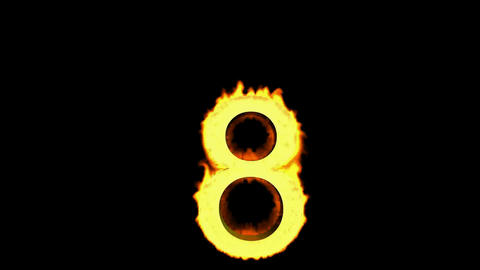 burning numbers 8,flames on black background Stock Video Footage