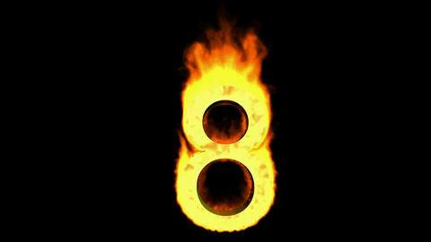 burning numbers 8,flames on black background Animation