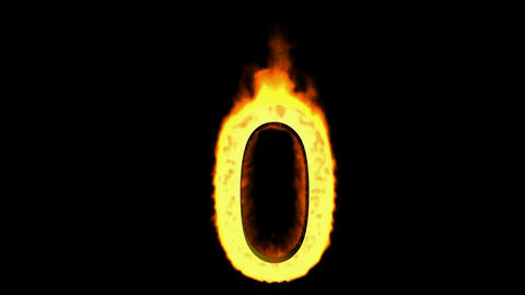 burning numbers 0,flames on black background Stock Video Footage