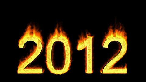 happy new year 2012,numbers 2012 burning with fire on black background Animation