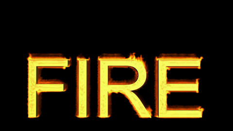 word fire in flames Stock Video Footage