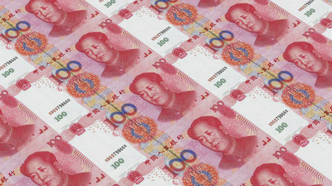 Printing Money Animation,100 RMB bills Stock Video Footage
