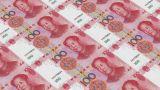 Printing Money Animation,100 RMB Bills stock footage