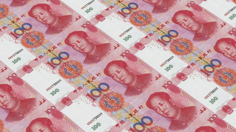 Printing Money Animation,100 RMB bills Animation