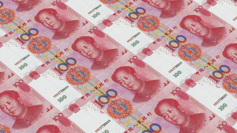 Printing Money Animation,100 RMB bills Stock Video Footage