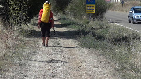 Pilgrim On The Camino De Santiago 01 stock footage