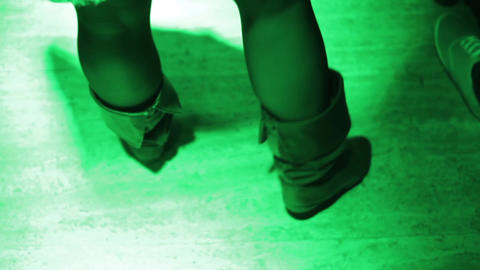 Woman Moves Her Feet In Rhythm Of Music 01 stock footage