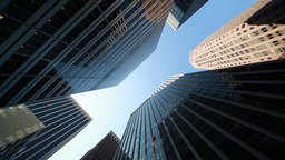 Urban Corporate Building Towers In New York City Low Angle stock footage