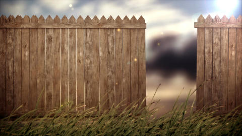 open old wood fence on forest background Animation