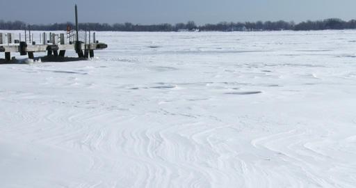 Panoramic view of lake Ontario frozen Footage