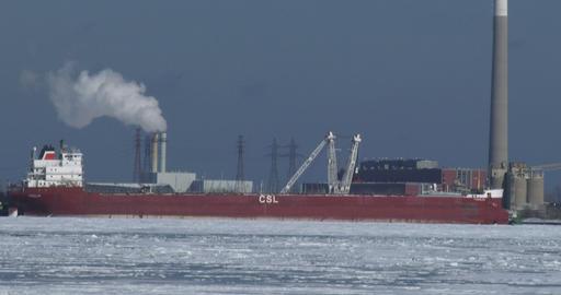 Ship docked on frozen lake Ontario Footage