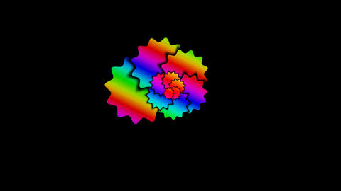 Rotating color flowers (stars) Animation