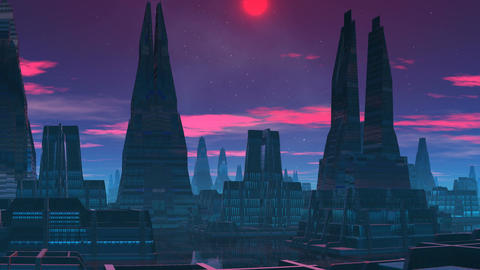 The red moon. A fantastic city Animation