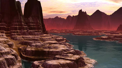 The mountain river. A fantastic planet Animation