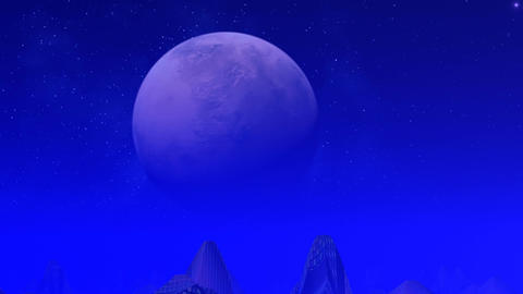 City of aliens on a blue planet Animation