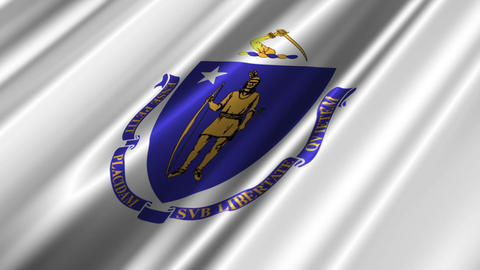 Massachusetts Flag Loop 02 Stock Video Footage
