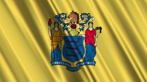New Jersey Flag Loop 01 Stock Video Footage