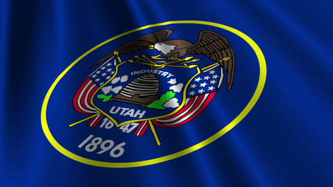 Utah Flag Loop 03 Stock Video Footage