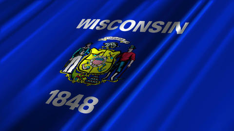 Wisconsin Flag Loop 02 Stock Video Footage