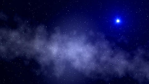 UFO. A fog. Stars Animation