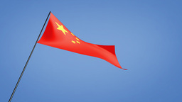 China flag low angle Animation