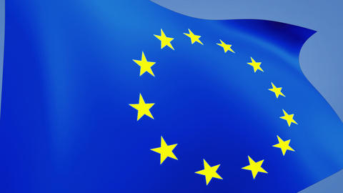 euro flag closeup Animation