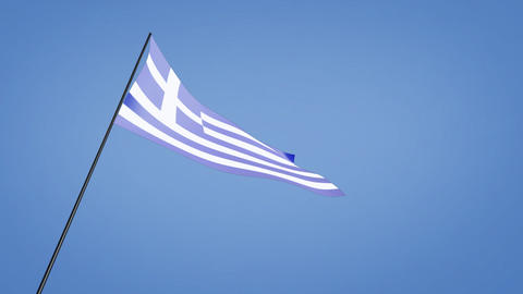 Greece flag low angle Stock Video Footage