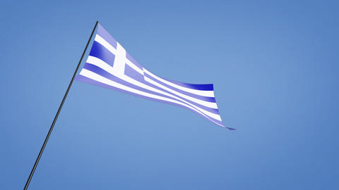 Greece flag low angle Animation