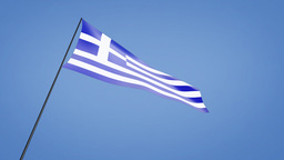 Greece flag low angle Stock Video Footage