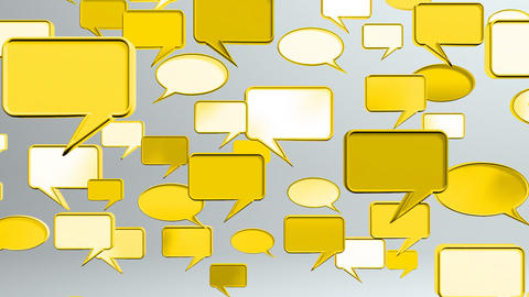 many conversation icons yellow Animation