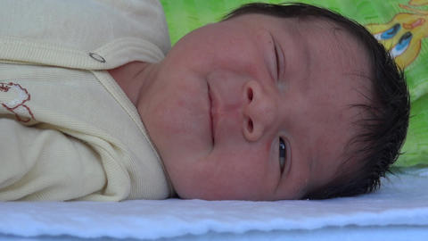 Smiling newborn 01 Footage
