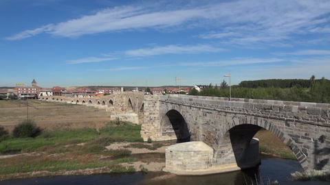 Ancient bridge over a river 04 Footage