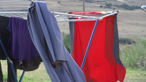 Clothes out to dry 02 Footage