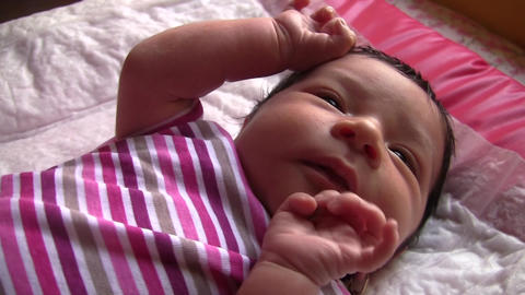 Newborn is restless and moves his hands 01 Footage
